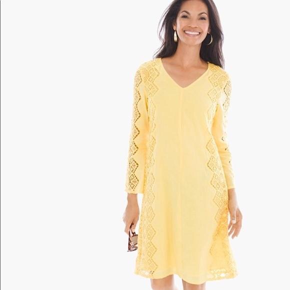 edd58b438246 Chico s Sz 1 (med) yellow crochet midi dress